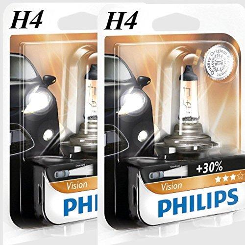 H4Philips Vision 30% más luz halógena Lámpara Bombillas 12V 55W B1lámpara