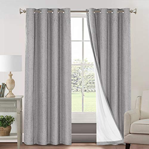 100% Blackout Curtains for Living Room Primitive Linen Look Curtains for Bedroom 2 Panels Waterproof Thermal Insulated Curtains Room Darkening Curtains with White Liner (52 x 96, Natural)