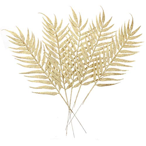 STOBOK Palos de flores artificiales de Navidad, tallos dorados, 40 cm, jarrones, ramas decorativas, corona de flores DIY, 5...