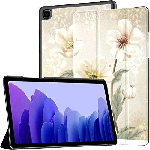 Funda para Samsung Galaxy Tab A7 Tableta de 10,4 Pulgadas 2020 (sm-t500 / t505 / t507), Flores 3D en Cubierta de Soporte de ángulo múltiple Vintage de Lujo con activación/suspensión automática