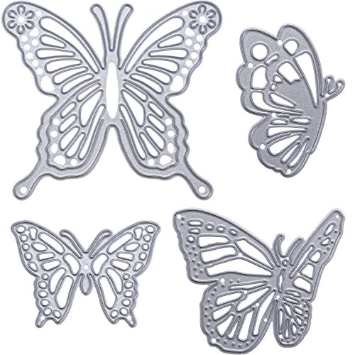 Gejoy 4 Pieces Butterfly Set Cutting Dies Metal Butterfly Die Embossing Stencils for Thanksgiving Christmas Card Paper DIY Craft Decoration