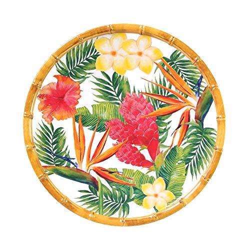Les Jardins de la Comtesse - Petite Assiette Plate à Dessert Motif Fleur Jaune Verte Rose - Assiette en Mélamine du Service de Table Fleurs Exotiques - Collection Vaisselle MelARTmine - Ø 23 cm