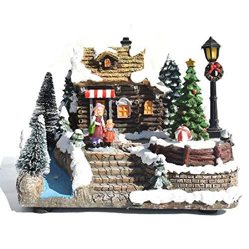 Manba LED Music House, Christmas Decorations Miniature Resin Elk Rotating Santa Claus Colorful Light Music Box