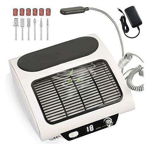 Profesional 3 en 1 colector de polvo de uñas y taladro |Kit de uñas de salón profesional con taladro eléctrico, vacío y máquina de lámpara de escritorio LED para esmalte de uñas de gel, secador de uña