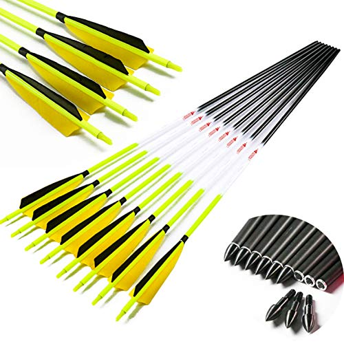 Linkboy Archery Carbon Arrows Hunting Practice Target Arrows Fluorescent with Removable Tip for Compound Recurve Long Bows, Spine 600 32 inch, Pack of 12PCS