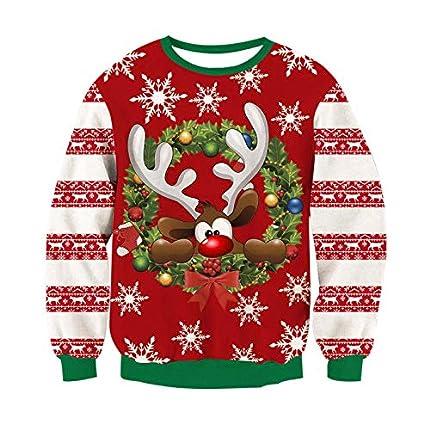 RAISEVERN Unisex Hombres Mujeres Navidad Rojo Ciervo Copo de Nieve Navidad Novedad Jersey Feo Puente Sweatershirts M