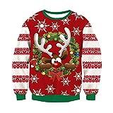 RAISEVERN Unisex Hombres Mujeres venado Santa Navidad Novedad Jumper Retro Rojo Feo suéter pequeño