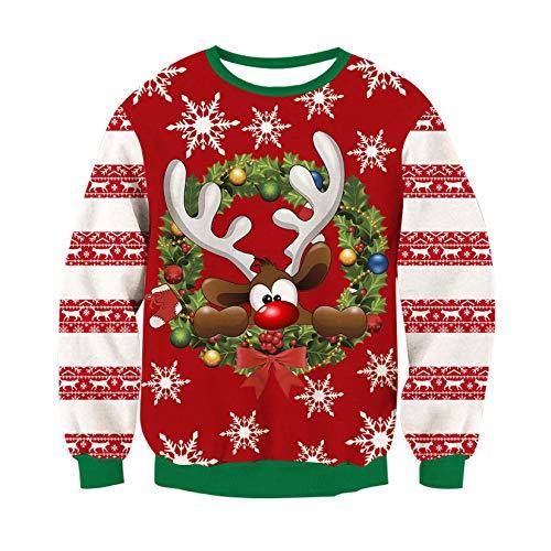 RAISEVERN Navidad Sudadera Mens Unisex suéter Feo Reno 3D Santa luz Navidad gráfico Puente XXL