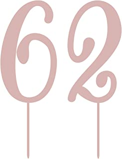 MAGJUCHE Rose Gold 62 Acrylic Birthday Cake Topper, Number 62 Rose 62nd Birthday Cake Topper, Boy or Girl Birthday or Anni...