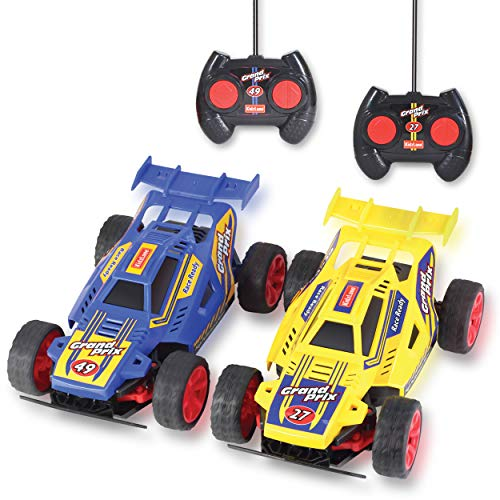 Kidzlane Remote Control Cars – 2 Race Cars Racing Together with All-Direction Drive, 35 ft Range - Great RC Car Toy for Kids Boys 3 4 Year Old +