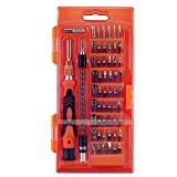 Multi-magnetic screwdriver: 58-in-1 precision screwdriver set is designed to repair all popular laptops, phones, game consoles and other electronic products. The package contains 54 different drill bits, made of chrome vanadium steel, with high-quali...