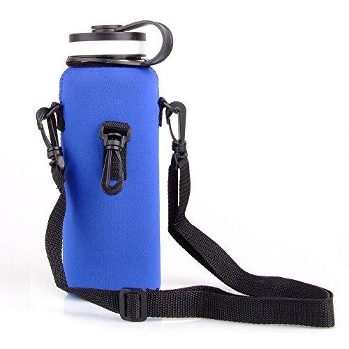 iiniim Bolso Térmica de Botella de Agua Portátil de Neopreno Portador de Botella de Agua al Aire Libre Funda Impermeable de Botella de Agua para Acampar Viaje Senderismo Pesca Azul One_Size