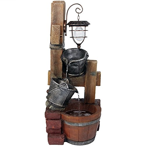 Sunnydaze Rustic Pouring Buckets Outdoor Water Fountain with Solar Lantern - Waterfall Fountain & Backyard Water Feature for Patio, Yard, Lawn - 34 Inch Tall