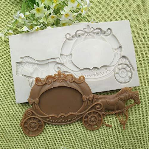 Shulcom Molde de Fondant de Carro de Calabaza Moldes Decorativos de Pastel para Hornear de Chocolate DIY