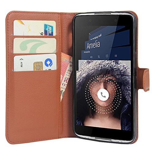 HualuBro Alcatel Idol 4 Hülle, Premium PU Leder Leather Wallet Handyhülle Tasche Schutzhülle Case Flip Cover mit Karten Slot für Alcatel Idol 4 Smartphone (Braun)