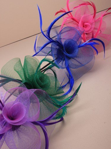 crysta innovations REF 4000 (blue) Looped net and feather with centre detail fascinator on a narrow black aliceband by crystal innovations