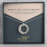 8th Anniversary Sterling Silver Necklace: 8 Rings for 8 Years- with Gift Note