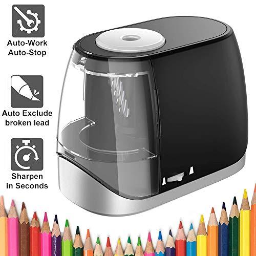 Elektrisch Anspitzer USB Spitzer Elektrisch Bleistiftspitzer Automatischer für Kinder Batterie und USB betrieben Autostoppfunktion Pencil Sharpener für Nr. 2 und Buntstifte(6-8mm) (Schwarz)