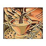 XIAOJIJI DIY Pintura por Números, DIY Pintura Al Óleo Digital sobre Lienzo Regalo -Romance Cafetero 16X20 Pulgadas Sin Marco