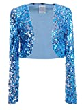 Anna-Kaci Womens Shiny Sequin Long Sleeve Glitter Cropped Blazer Bolero Shrug, Blue, X-Large