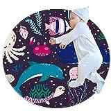 Anti-Slip Area Rug Colorful Sea Animal Round Carpet Polyester Floor Mat for Kids Room Bathroom Living Room Bedroom Rugs Mats
