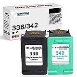 SMARTOMI Remanufacturado 336 342 compatibles con HP 336 342 XL para HP Deskjet 5420 Officejet 6310 6318 Photosmart 2570 2575 C3100 C3140 C3150 C3170 C3180 C3183 C4100 C4140 PSC (1 Negro 1 Tricolor)
