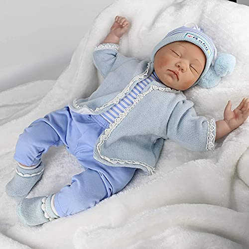 JeeKoudy Reborn Baby Dolls, Rebirth Doll 22Inch / 55Cm Realistic Reborn Simulation Baby Doll para acompañar al niño Que Duerme Muñeca Suave y Realista para Chil
