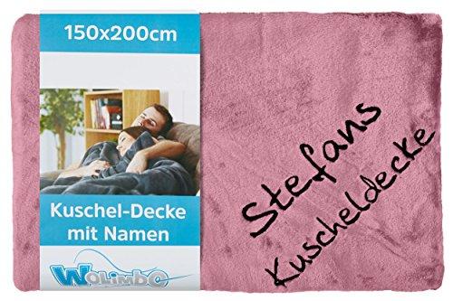 Wolimbo Wohndecke Kuscheldecke mit Namen Bestickt Farbe: rosa Größe: 200x150cm Flauschdecke