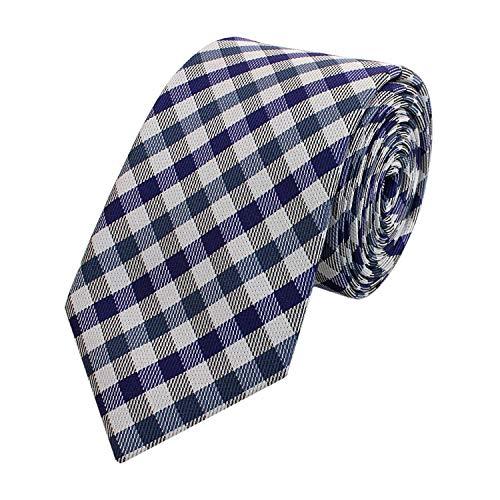 Krawatte schmal von Fabio Farini kariert in blau grau