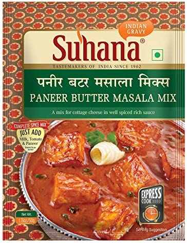 Suhana Paneer Butter Masala 50g Pouch | Spice Mix | Easy to Cook | Pack of 9