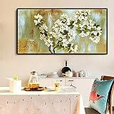 Geiqianjiumai Flor de Almendro impresionista Flor Paisaje Pintura al óleo Lienzo póster e impresión salón Mural sin Marco Pintura 75x150cm