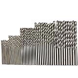 Set Micro Drill Set Tools Micro Brocas HSS Taladro de Alta Precisión con Vástago Redondo Juego de Brocas Helicoidales 50 Piezas para Madera Metal Plástico DIY perforación profesional (50 piezas)