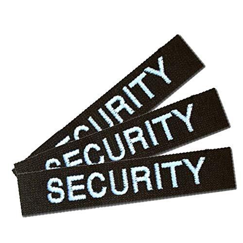 Namensschild Namensband 3er Satz Security-Schwarz m. Klett angeklebt