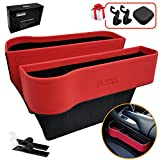 Inovare Designs Car Seat Pockets PU Leather Car Console Side Organizer Seat Gap Filler Catch Caddy with Non-Slip Mat 9.2x6.5x2.1 inch Black (2 packs) (Red Leather)