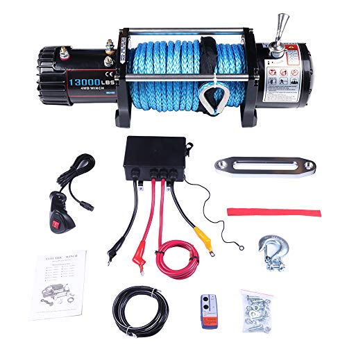 Winches,ECCPP 12V 13000 LBS Electric Winch+Aluminum Fairlead+Synthetic Rope+Control Box Assembly+Wireless/Hand Remote Controller+Negative Wire+Hook+Bolts for SUV/ATV/4WD/Off