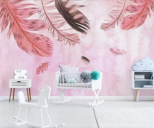 Pink world Wandbild minimalistische handgemalte rosa Feder kleine frische Hintergrundwanddekoration Malerei Tapete-Über 400 * 280 cm