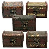 Baost 1Pc Vintage Metal Lock Wooden Storage Box Jewelry Treasure Organizer Chest Case Gift Box (Random)