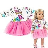 American Girls Ropa - Vestido de Estampado Foral para American Girl 18 Pulgadas - Muñecas Fashion y Accesorios Doll Ropa Set (Rosa)