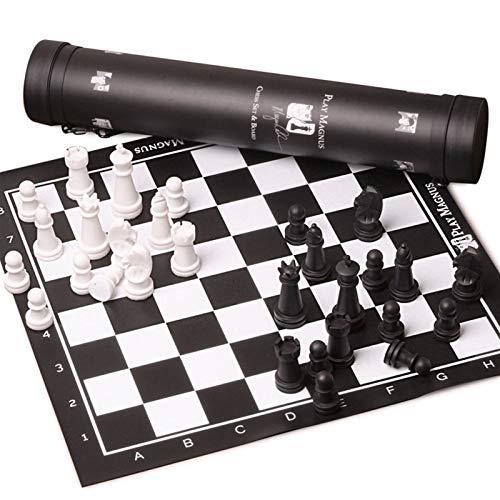 LOFAMI Juegos de Mesa Ajedrez Ajedrez Piezas de ajedrez en Blanco y Negro con Almacenamiento Ajedrez de Cuero Adulto Tablero de ajedrez Ajedrez Ajedrez