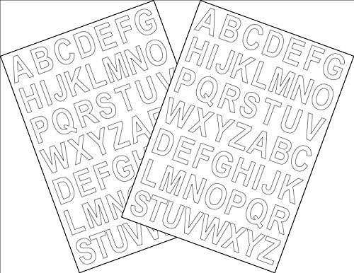 Lot de 2 feuilles A5 autocollantes avec lettres de l'alphabet Hauteur 2,5 cm avec verso adhésif Découpe par ordinateur, blanc