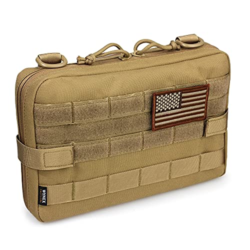 WYNEX Tactical Molle Admin Pouch, Upgrade Material Semi-Hidden Zipper & 1000D Tough Nylon EDC Utility Pouches Tools Bag EMT Utility Map Pocket, IFAK Pack Include U.S.A Flag Patch