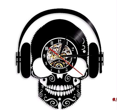 Hanjiming 1 Stuk Luister naar Muziek Schedel Ontwerp Vinyl Record Wandklok Lp Record Tijd Klok Led Licht Vintage Tijdstuk Thuis Interieur Decor