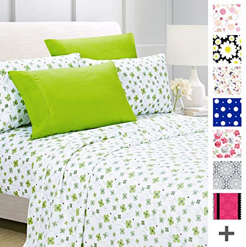 American Home Collection Deluxe 6 Piece Printed Sheet Set of Brushed Fabric, Deep Pocket Wrinkle Resistant - Hypoallergenic (Queen, Lime Green Floral)