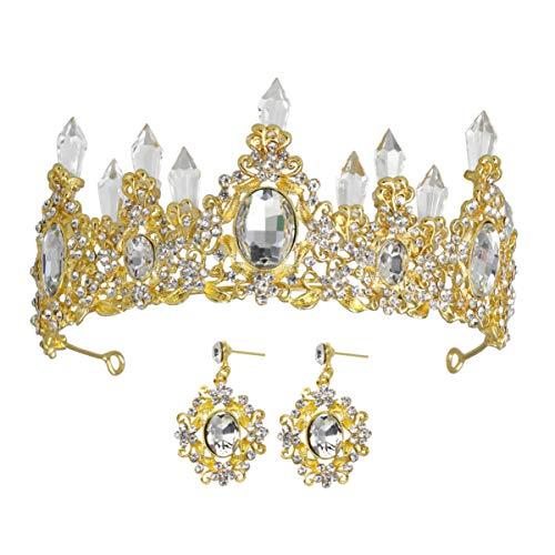 FRCOLOR Strass Krone mit Ohrringen Barockkrone Schmuck Tiara Set für Braut Kristall Tiara für Unkraut Party (Golden)