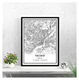 LTGBQNM Toledo Mapa Imprimir Cartel Lienzo |Toledo City Map Print Poster Canvas 20x28inch Sin Marco