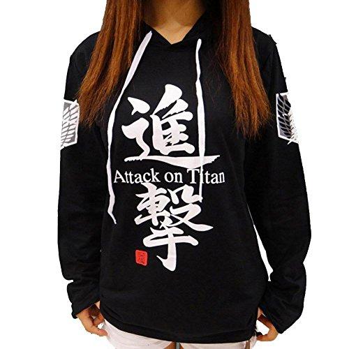Sweat à capuche/costume de Cosplay Jeylu - Avec titre du manga «Attack on Titan» inscrit en anglais - Eren Jaeger - Pour automne - Noir - Large