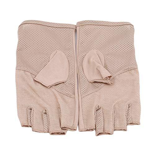 EMFGJ Guantes de ciclismo unisex de algodón para deportes de gimnasio, guantes de conducción delgados, guantes de carreras, guantes de invierno sin dedos, color caqui