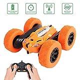 OUTTUO RC Voiture Télécommandée, 4WD Stunt Car Radiocommandée otation à 360 Degrés Jouet, 2.4GHz Scale Course Véhicule avec Batterie Rechargeable - Cadeau pour Enfants(Orange)