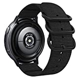 YOFUNTLE Compatible for Samsung Galaxy Watch 3 41mm/Active 2/Galaxy Watch 42mm Band,20mm Woven Nylon Replacement Strap Wristband with Metal Buckle for Galaxy Watch 42mm/Gear Sport/Active(Small,Black)