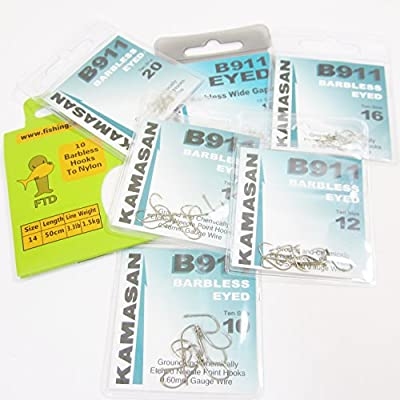 FTD - Min 30 (3 packs of 10) KAMASAN B911 BARBLESS (EYED) Fishing Hooks - Single Size & Combinations - Sizes 10 to 20 - Comes with 10 FTD Barbless Hooks to Nylon (3 packs - 1 x size 16 18 & 20)